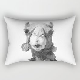 Black and White Camel Portrait Rectangular Pillow