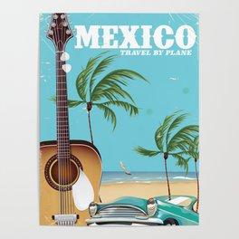 Mexico City Acoustic Guitar vintage travel print Poster
