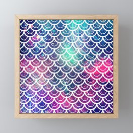 Mermaid Scales Pink Turquoise Blue Framed Mini Art Print
