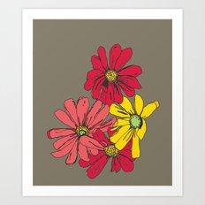 Grey Flowers Art Print