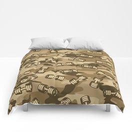 Dumbbell Gym Camo DESERT Comforters