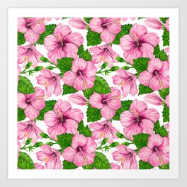Pink hibiscus watercolor pattern Art Print