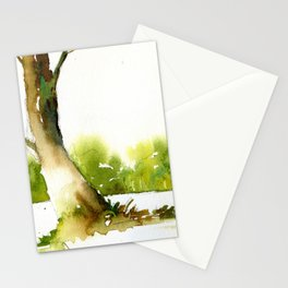 Trees in forest.  Landscape painting of trees in forest. Stationery Cards