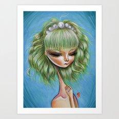 Green petals - Pop Surrealism Illustration Art Print