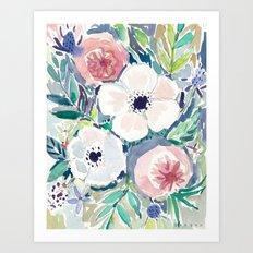 White Anemone Floral Art Print
