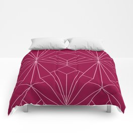 Art Deco in Raspberry Pink - Large Scale Comforters