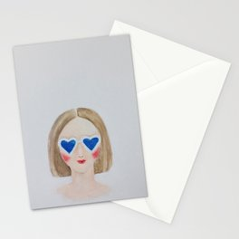 Girl with the blue shades Stationery Cards