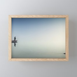 Fisherman and Duck On Calm Water Framed Mini Art Print