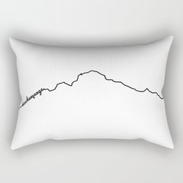 Kanchenjunga Art Print / White Background Black Line Minimalist Mountain Sketch Rectangular Pillow