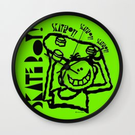 Skate Boy in green Wall Clock