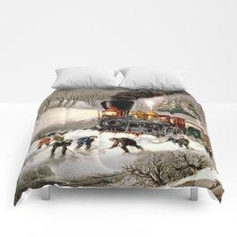Snow Bound: Vintage Currier & Ives Railroad Scene Comforters