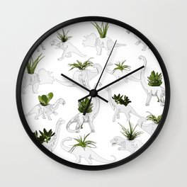 Dino and Cacti on White Wall Clock