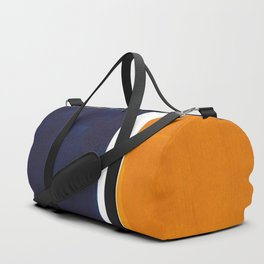 Navy Blue Yellow Ochre Abstract Minimalist Rothko Colorful Mid Century Color Block Pattern Duffle Bag