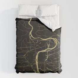 Prague Black and Gold Map Comforters