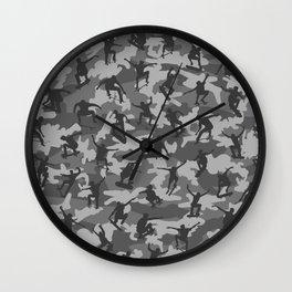 Skater Camo B&W Wall Clock