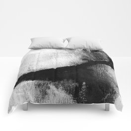 "Black and White Textured Abstract Painting ""Delve 2"" Comforters"