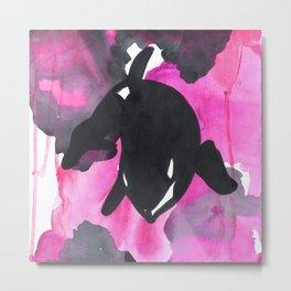 Diving Orca - Pink Metal Print