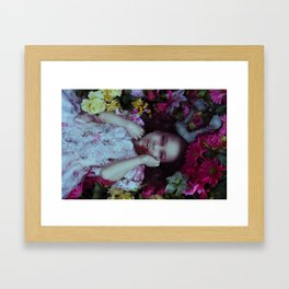 Vampire among the flowers Framed Art Print