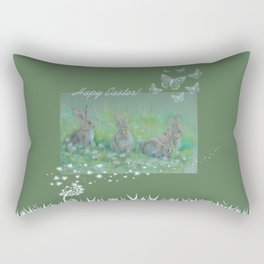 Easter bunnies on the meadow Rectangular Pillow