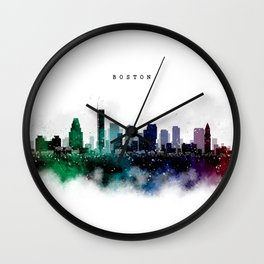 Boston Watercolor Skyline Wall Clock