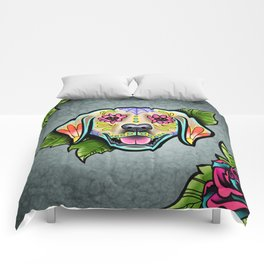 Golden Retriever - Day of the Dead Sugar Skull Dog Comforters