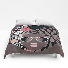 Afro Diva : Sophisticated Lady Pale Pink Peach Taupe Comforters