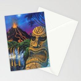 Tiki and Volcano Stationery Cards