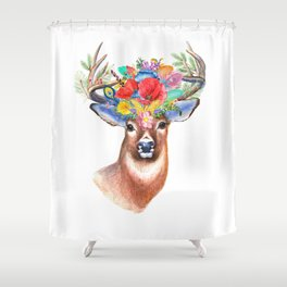 Watercolor Fairytale Stag With Crown Of Flowers Shower Curtain