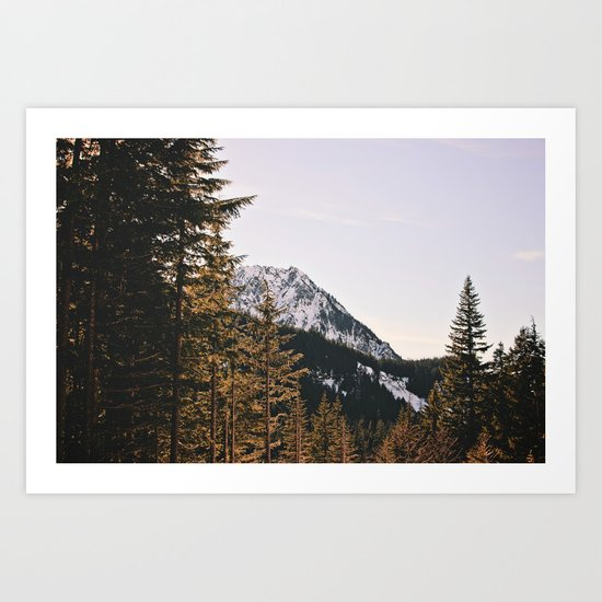 Snow Mountain in the Trees Art Print