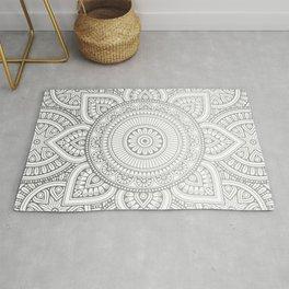 Silver Mandala Pattern Illustration Rug