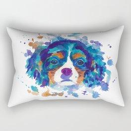 The cavalier king Charles Spaniel portrait in blue Rectangular Pillow