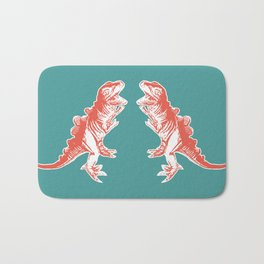 Dino Pop Art - T-Rex - Teal & Dark Orange Bath Mat