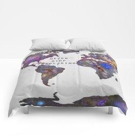"""Star map. Never stop exploring...II"". World map. Comforters"