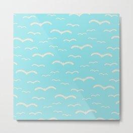Beach Series Aqua - Sea Gulls Birds in the blue Sky Metal Print