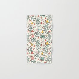 Succulent and triangles seamless pattern Hand & Bath Towel