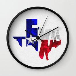 Texas Typographic Flag Map Art Wall Clock