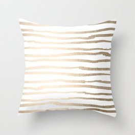 White Gold Sands Painted Lines Throw Pillow