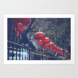 Red Lanterns in Chinatown, NYC Art Print