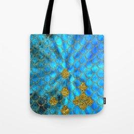 Blue Aqua Turquoise And Gold Glitter Mermaid Scales -Beautiful Mermaidscales Pattern Tote Bag