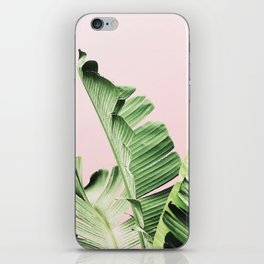 Banana Leaf on pink iPhone Skin