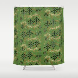 Textured Trees Shower Curtain