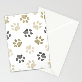 Doodle grey and gold paw print seamless fabric design repeated pattern background Stationery Cards