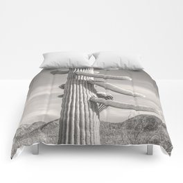 Desert Sentinel, Black and White Cactus Decor by Murray Bolesta Comforters