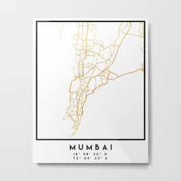 MUMBAI INDIA CITY STREET MAP ART Metal Print