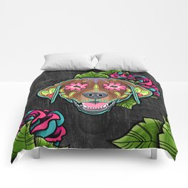 Labrador Retriever - Chocolate Lab - Day of the Dead Sugar Skull Dog Comforters