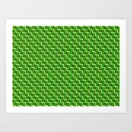 Green and Gold Zig Zag Weave Art Print