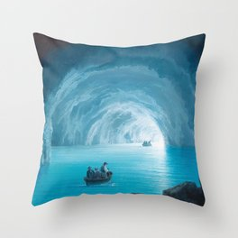 The Blue Grotto, Capri, Italy by landscape painting Gioacchino La Pira Throw Pillow