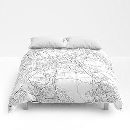 Edinburgh Map, Scotland - Black and White Comforters