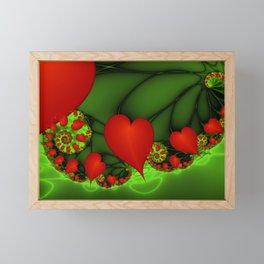 Dancing Red Hearts Fractal Art Framed Mini Art Print