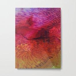 Textured Chrysanthemum   Jewel Toned Fuschia Gold Metal Print